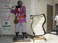 This is one of the lifelike pirate figures in Grand Cayman.  His name is Big Black Dick.  I'm not making this up!